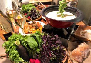 有機野菜と食べるソイ・チーズフォンデュ鍋